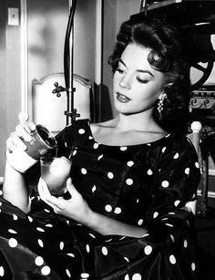 Natalie Wood in a black & white dot dress....