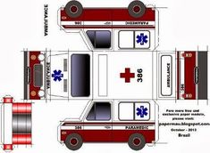 Papermau: Easy-To-Build Ambulance Paper Model - by Papermau . Paper Model Car, Paper Car, Paper Plane, 3d Paper, Paper Models, Paper Toys, Ambulance, Diy And Crafts, Crafts For Kids