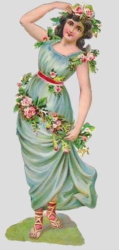 Victorian Scrap — Flower Girl  (357x750)