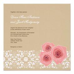 Pink Roses & Damask Lace Wedding Invitation