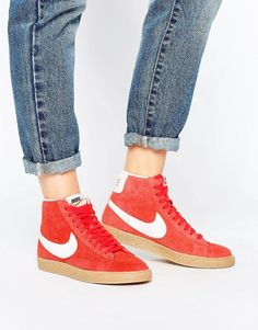 new concept f4a7f 0a668 Nike Blazer Mid Trainers In Red Suede