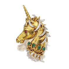 18 Karat Gold, Platinum, Colored Stone and Diamond Unicorn Brooch, David Webb