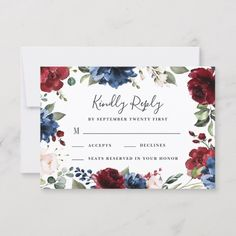 Navy Blue and Burgundy Blush Pink Floral Wedding RSVP Card - spring gifts style season unique special cyo Wedding Rsvp, Red Wedding, Wedding Stationery, Wedding Cards, Rustic Wedding, Autumn Wedding, Wedding Ideas, Wedding Things, Summer Wedding