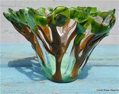 Seaside Splash Glass Dish Fused Bowl Kiln Formed Glass Bowl