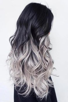 Com/Silver-Ombre-Hair/ balayage hair, black and silver hair Black And Silver Hair, Silver Ombre Hair, Brown Ombre Hair, Ombre Hair Color, Cool Hair Color, Hair Colors, Blue Hair, Black Hair With Highlights, Hair Highlights