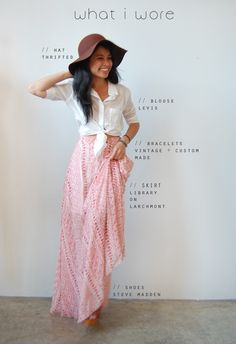 high-waist maxi skirt with tied white button up. Lovely.