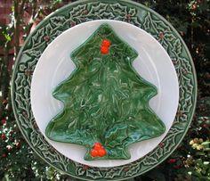 Christmas Tree Plate Flower Yard Art by PlateFlowersPlus on Etsy, $25.00