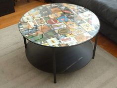 Personalize the top of the $50 Vittsjo round coffee table by turning its surface into a display for your coaster collection -- or another collage you love. The patterned top will be a conversation starter while the glass keeps it functional.