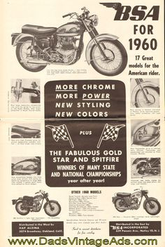 Vintage Ad: BSA Motorcycles for 1960 – 17 great models for the American rider.
