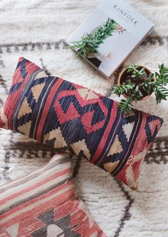 Vintage Turkish Kilim Pillow Cover Lumbar Pillow by LoomAndField