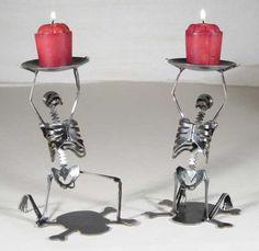 Zombie Skeleton Kneeling Candle Holders Set of by zedszombieranch, $110.00