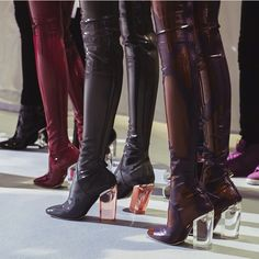 Second-skin vinyl boots with a Perspex heel from Dior show