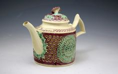 Antique 18th century creamware double walled reticulated teapot named