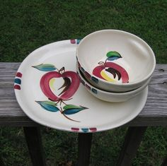 1940s - 1950s Vintage Hand Painted Purinton Dinner Plate, 2 Cereal Bowls, Open Apple, Good Condition, Marked Purinton Slip Ware by VictorianWardrobe on Etsy