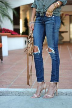 major style crush. loving the distressed denim with the open sandals