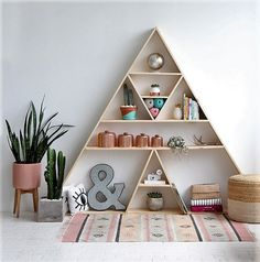 Create an inspirational corner for yourself too. You can craft this triangular shaped shelf for placing and displaying the things that you like or you use in your leisure time. You can place your knitting tools, books, paints, coffee mugs, candles, plants or your personal music player on that shelf. This personalized corner of yours will remind you to spend some time for yourself.