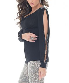 Look at this Belldini Black Rhinestone Cowl Neck Sweater on #zulily today!
