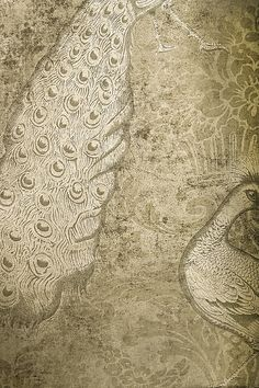"An ""antique"" effect gilver damask wallpaper with peacocks."