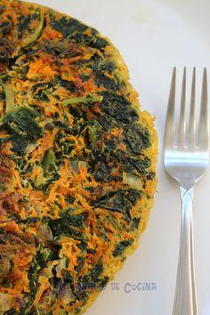 tortilla de zanahoria y espinaca