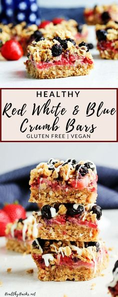 These Red White and Blueberry Crumb Bars make the perfect easy and healthy dessert idea for any of July party! You can make one batch for a small gathering or double the recipe for a crowd! Either way, these chewy, sweet, oaty, and fruity crumb bars ar Easy Holiday Desserts, 4th Of July Desserts, Desserts For A Crowd, Fancy Desserts, Food For A Crowd, Holiday Treats, Small Desserts, Heart Healthy Desserts, Healthy Snacks For Kids