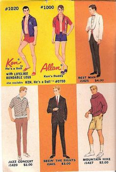 Ken and Allan fashions from the World of Barbie Fashions booklet #3, 1960's  (I still have Ken #1020)