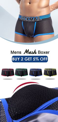 0257676bf0ae [$9.99]Stylish Spell Color Pouch Mesh Boxer Elastic Belt Thin Breathable  Underwear for Men