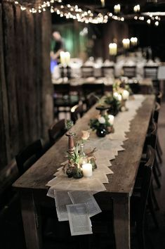 Table runners wedding - 50 The Best Winter Table Decorations You Need to Try – Table runners wedding Wedding Table Decorations, Wedding Themes, Table Setting Wedding, Long Table Centerpieces, Centerpiece Ideas, Wedding Ideas, Diy Wedding Tables, Wedding Table Runners, Table Runner Round Table