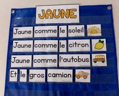 French Pocket Chart poems and activities, Poèmes pour pochettes, Les couleurs Name Activities, Language Activities, Communication Orale, French Poems, Environmental Print, Pomes, Preschool Special Education, French Immersion, Kindergarten Literacy