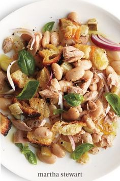 Who doesn't love a recipe that you can whip up with ingredients on hand? Use leftover bread and open up a can of tuna and another can of beans. A bit of pickle juice adds flavor while a small amount of basil adds a burst of freshness. #marthastewart #recipes #recipeideas #seafoodrecipes #seafooddinners #seafood Canned Tuna Recipes, Fish Recipes, Seafood Recipes, Dinner Recipes, Cooking Recipes, Healthy Recipes, Healthy Desserts, Healthy Food, Martha Stewart Blog