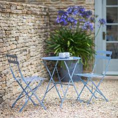 Rives Bistro Table Set with 2 Chairs - Dorset Blue - Garden Furniture - Furniture - Furniture Garden Seating, Garden Chairs, Small Garden Table And Chairs, Blue Garden Furniture, Backyard Furniture, Outdoor Furniture, Ideas Para Decorar Jardines, Jardin Vertical Artificial, Metal Garden Table