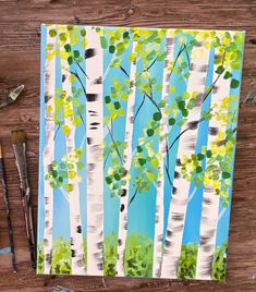How To Paint Birch Trees - Easy Step By Step Painting Tutorial Tree Painting Easy, Birch Trees Painting, Easy Flower Painting, Birch Tree Art, Spring Painting, Spring Art, Diy Painting, Tree Paintings, Painting Canvas