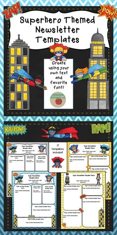 Seventeen editable newsletter templates with a superhero theme! Perfect for a Superhero Themed Classroom! Superhero School Theme, Superhero Classroom Decorations, Superhero Room, School Themes, Classroom Themes, Superhero Bulletin Boards, Superhero Academy, Library Decorations, 2nd Grade Classroom