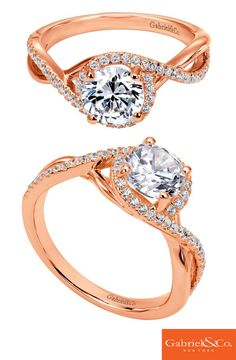 Thinking about proposing to your one in only in your life? Check out this absolutely stunning 14k Pink Gold Diamond Criss Cross Engagement Ring by Gabriel & Co. This piece has such incredible details and designs along with its beautiful color tones of Pink Gold shining with lovely diamonds.