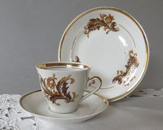 Vintage Coffee Set Thin Porcelain Cup and Saucer Espresso Set of 3 Riga Porcelain Brown Gold White Riga, Espresso, Coffee Cups, Tea Cups, Dough Press, Cuban Coffee, Cake Decorating Kits, Cookie Press, Vintage Cookies