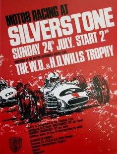 Motor Racing at Silverstone, 1960s - original vintage poster listed on AntikBar.co.uk