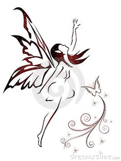 Find Silhouette of a fairy and stars . Vector illustration isolated on white background. Stock Images in HD and millions of other royalty-free stock photos, illustrations, and vectors in the Shutterstock collection. Tattoo Hada, Et Tattoo, Elfen Tattoo, Body Art Tattoos, Cool Tattoos, Fairy Silhouette, Fairy Drawings, Fairy Tattoo Designs, Christmas Fairy