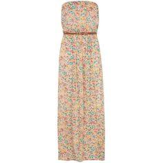Orange Floral Bandeau Maxi Dress ($33) ❤ liked on Polyvore featuring dresses, vestidos, maxi dresses, long dress, sleeveless maxi dress, orange floral dress, floral print dress, floral dress and long floral dresses