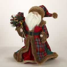 "Kurt Adler 16"" Old World Santa Claus Adorned in Red Plaid Coat Christmas Figure - Seasonal - Christmas - Indoor Decorations & Figures"