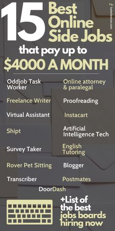 15 Best Part-time Jobs Online that Pay Well (Hiring Now) - Luster Lexicon Online Side Jobs, Best Online Jobs, Online Work, Earn More Money, Earn Money From Home, Earn Money Online, Money Fast, Legit Work From Home, Work From Home Tips