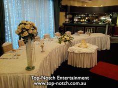 Wedding table place setting at Amberlee Receptions, Cranbourne, Victoria.  www.top-notch.com.au  www.facebook.com/WeddingDJTopNotch