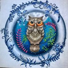Que capricho essa coruja da @julifds. Adorei  ------------------------------------------------- #viciodecolorir #florestaencantada #enchantedforest #JohannaBasford #editorasextante #florestaencantada2 #criatividade #secretgarden #amoremcores #terapiadascores #jardimsecretoinspire