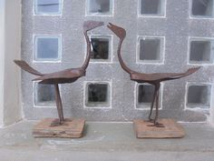 A Vintage pair of Indian Gypsy Tribal Made Iron Birds on Wooden Bases. by Lallibhai on Etsy