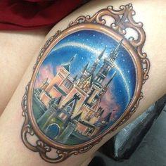 Beautiful Cinderella Castle tattoo