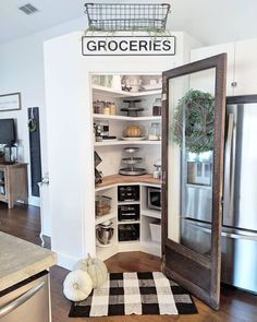 I am loving seeing everyone's photos from fall last year, ? so I thought … – pantry redo Kitchen Pantry Design, Kitchen Redo, Kitchen Remodel, Kitchen Ideas, Kitchen Layout Design, Kitchen With Corner Pantry, Small Pantry, Kitchen Storage, Home Renovation