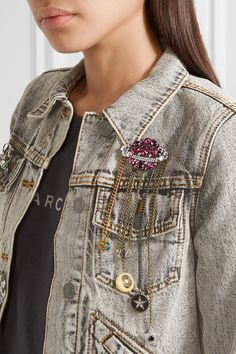 Love this by MARC JACOBS Gold and silver-tone crystal brooch - $0