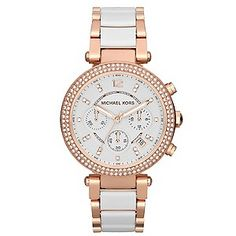 Acclaimed American designer Michael Kors opts for a stylish two tone appearance with this chic ladies' bracelet watch. The feminine rose gold-tone is highlighted with a white dial and accents of white ceramic on the bracelet, finished with an indulgent bezel of glittering crystals. Chic fashion timekeeping for the modern lady.