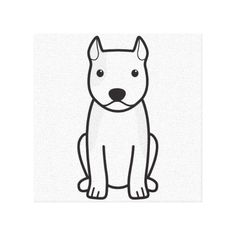 American Staffordshire Terrier Dog Cartoon Canvas Print