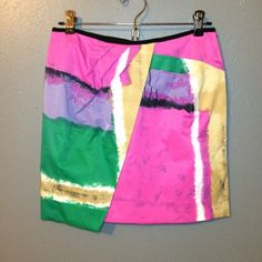 Abstract, watercolor mini, NWOT Abstract, watercolor print mini. Layered accent. Such a cool skirt, but too small for me! NWOT. Walter Baker Skirts Mini