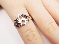 Lotus Flower Ring in Sterling Silver, Cutout Lotus Flower Jewelry, Rings, Flower Rings, Yoga Jewelry, Lotus Ring, OM Lotus Ring, Zen Ring,