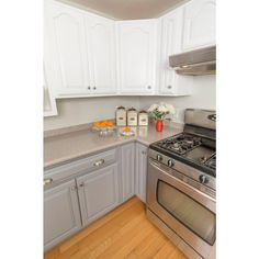 Update your kitchen with this Rust-Oleum Transformations Gray Cabinet Small Kit. Provides ultimate adhesion for wood, laminate and melamine surfaces. Kitchen Remodel, Kitchen Design, White Modern Kitchen, Small Kitchen, Painting Kitchen Cabinets, Small Kitchen Organization, Rustoleum Cabinet, White Cabinets, Kitchen Cabinets